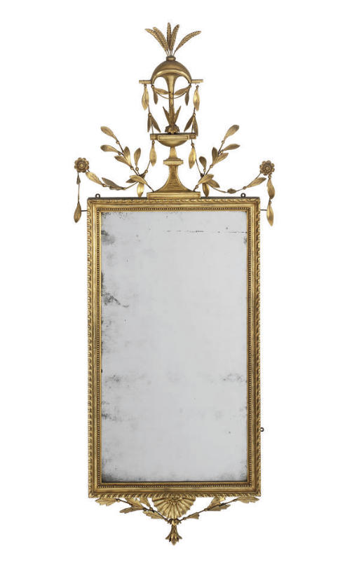 A GILTWOOD AND COMPOSITION RECTANGULAR PIER GLASS