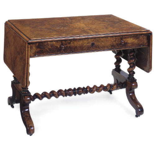 A GERMAN BURR WALNUT SOFA TABLE