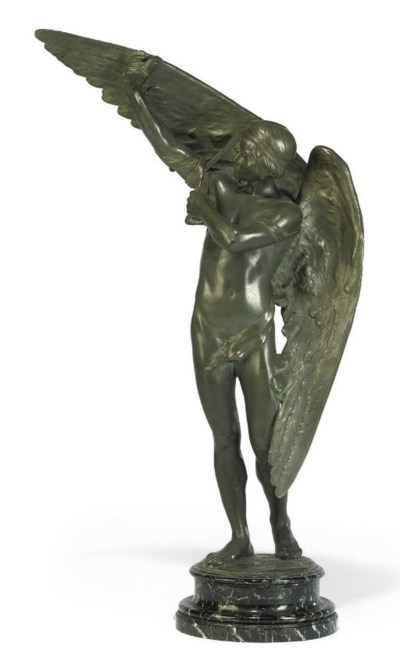 A FRENCH BRONZE FIGURE OF ICAR