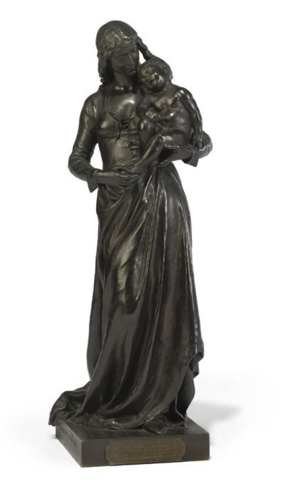 A FRENCH BRONZE MOTHER AND CHI
