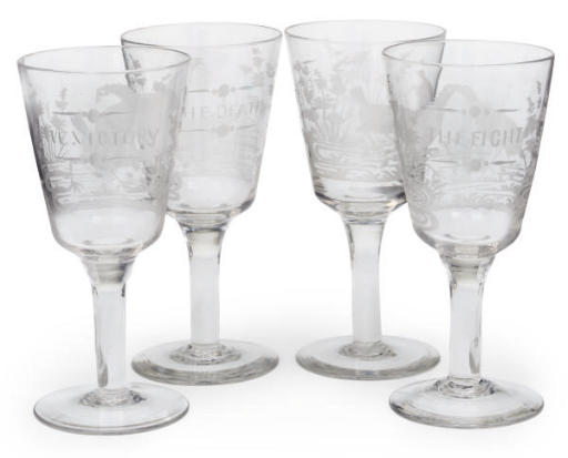 A SET OF FOUR ENGRAVED GLASSES