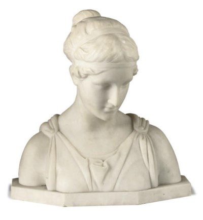 AN ITALIAN ALABASTER BUST OF A