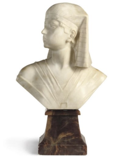AN ITALIAN CARVED ALABASTER BU