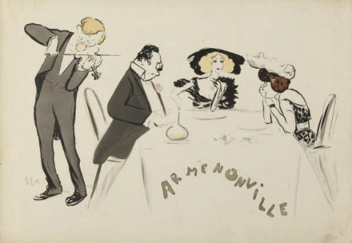 A collection of Caricatures of Society Figures at the theatre, dining, hunting and other events