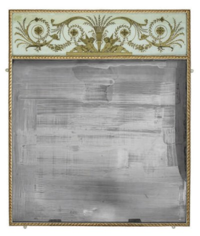 A PARCEL GILT AND STAINED MIRR