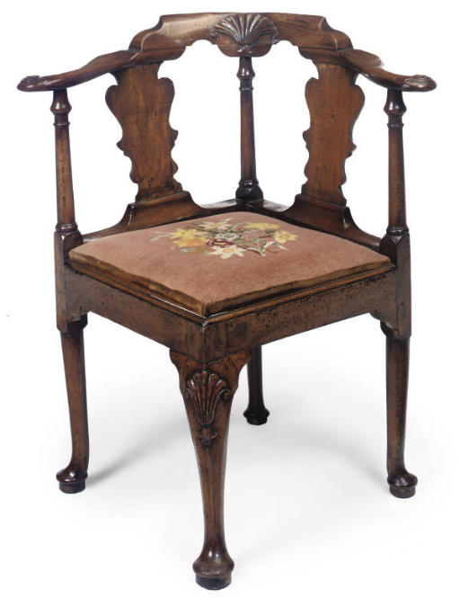 A GEORGE II WALNUT AND BEECH C