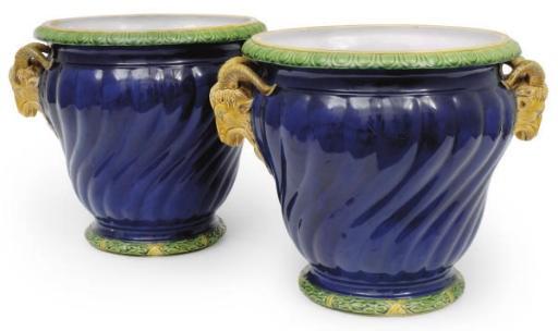 A pair of Minton majolica dark