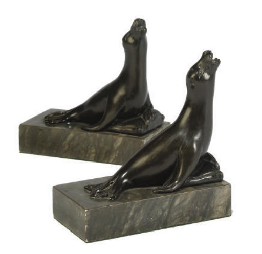 A PAIR OF PATINATED SPELTER BO