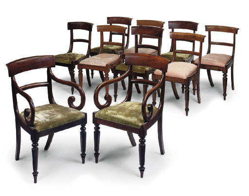 A MATCHED SET OF TEN DINING CHAIRS