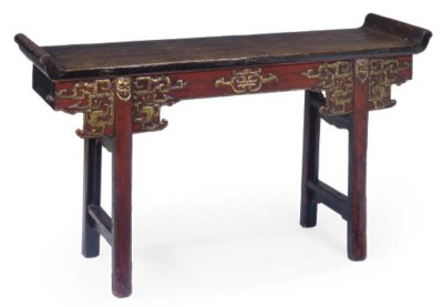 A CHINESE STYLE PAINTED ALTAR