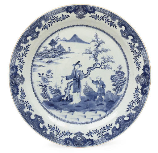 A massive Chinese blue and white charger