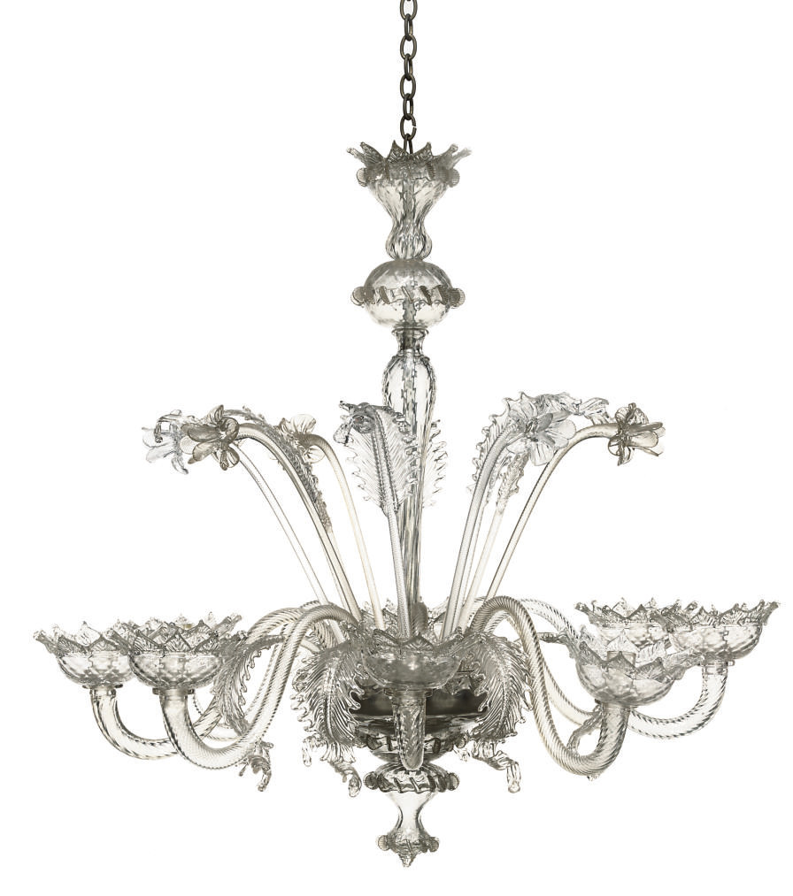 A MURANO GLASS EIGHT-LIGHT CHA