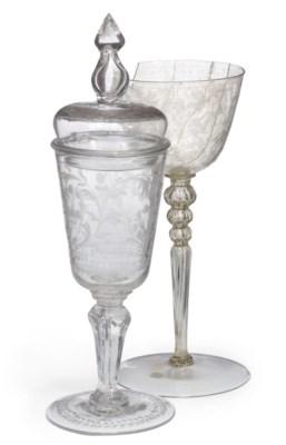 A GERMAN ENGRAVED GLASS GOBLET