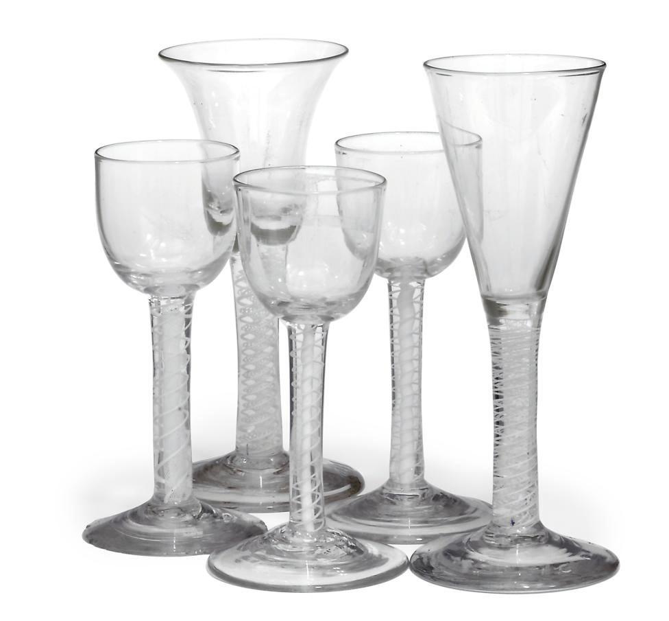 SEVEN OPAQUE-TWIST WINE GLASSE