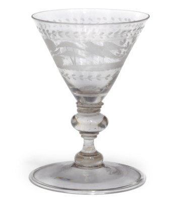 A BOHEMIAN ENGRAVED WINE GLASS