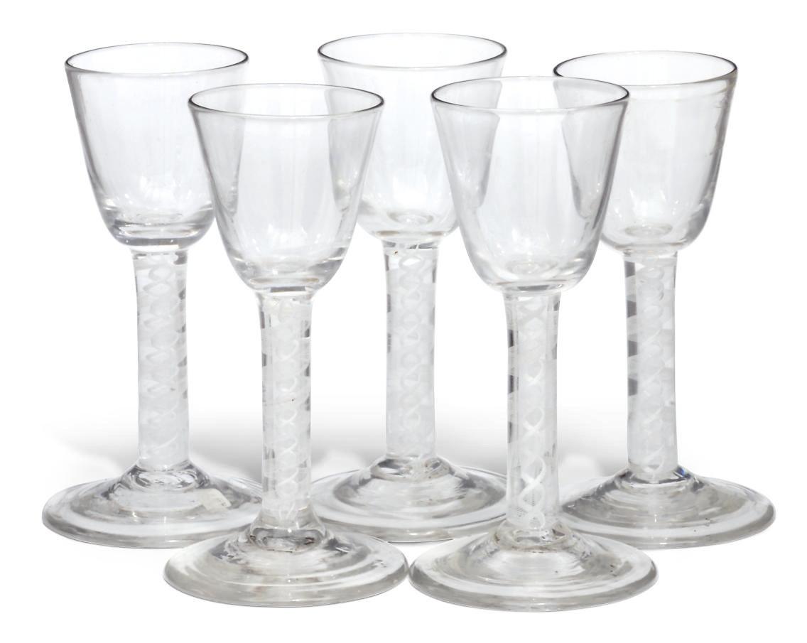 Five opaque-twist wine glasses