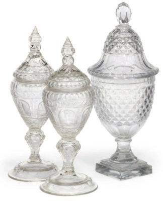 THREE CUT AND ENGRAVED GLASS J