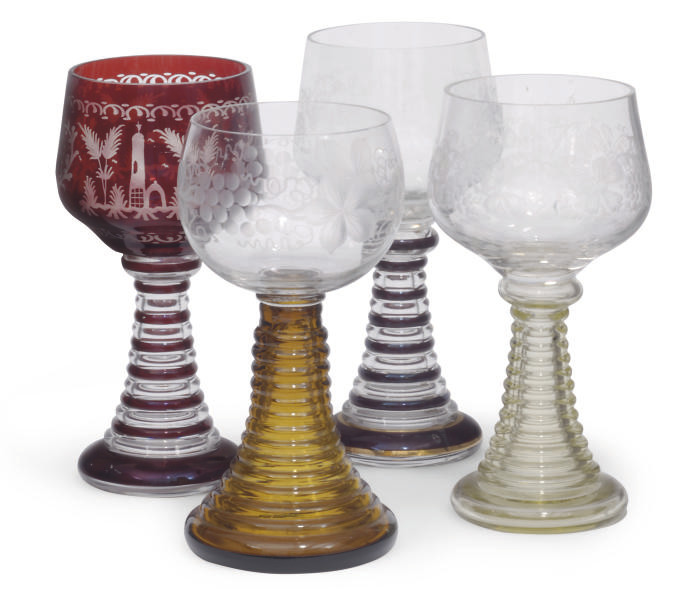 FOUR BOHEMIAN ENGRAVED GLASS R