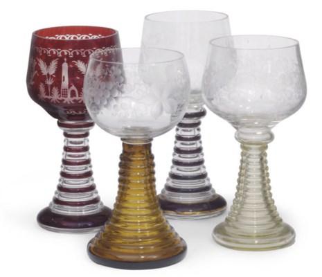 FOUR BOHEMIAN ENGRAVED GLASS R