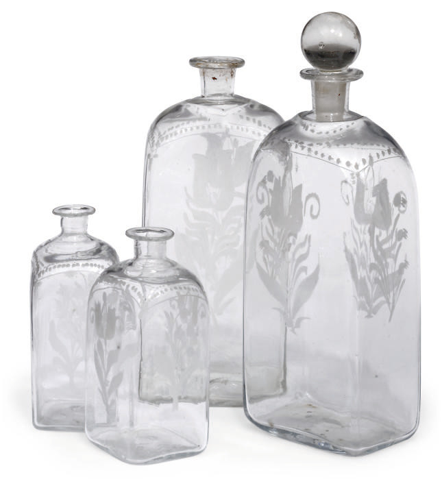 TWO SETS OF FOUR ENGRAVED GLAS