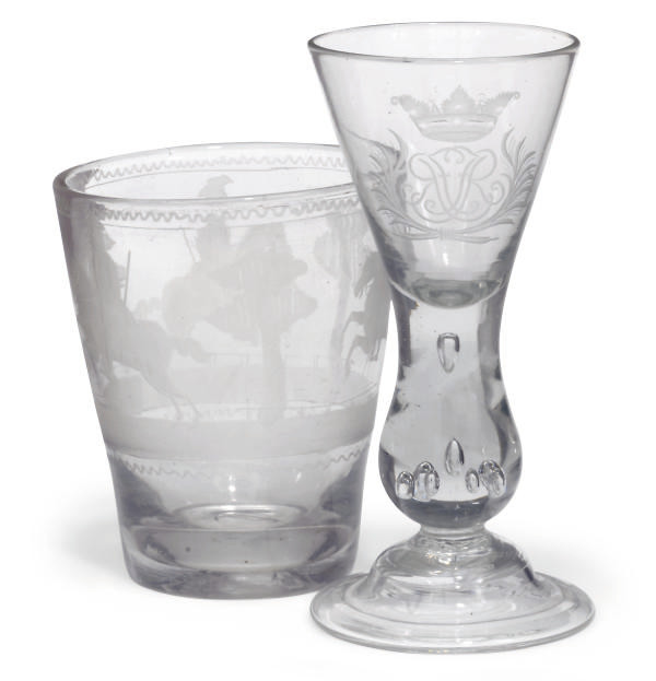 A DUCH ENGRAVED WINE GLASS AND