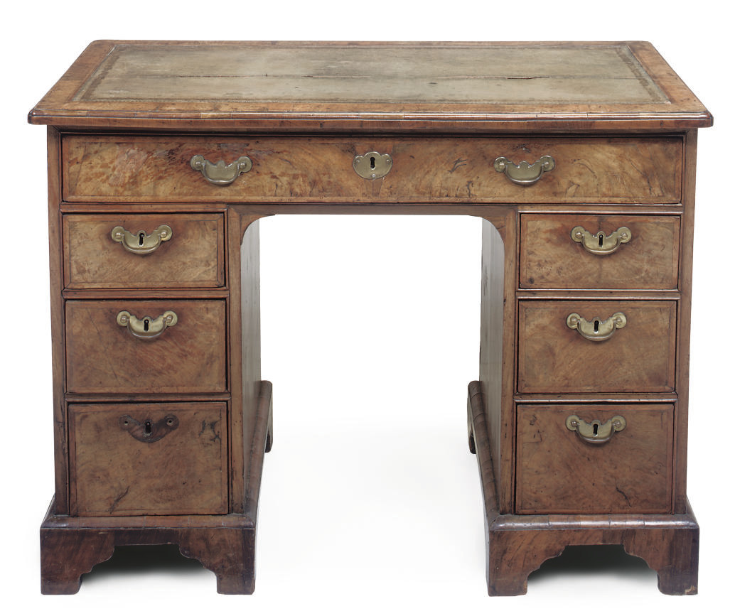 A WALNUT PEDESTAL DESK