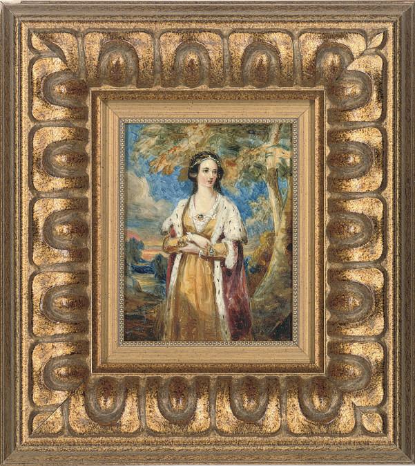 Portrait of Queen Victoria (1819-1901), three-quarter-length, in a garden
