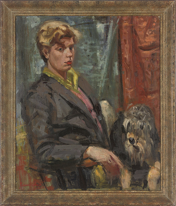 Portrait of Elaine Hislop, seated half-length