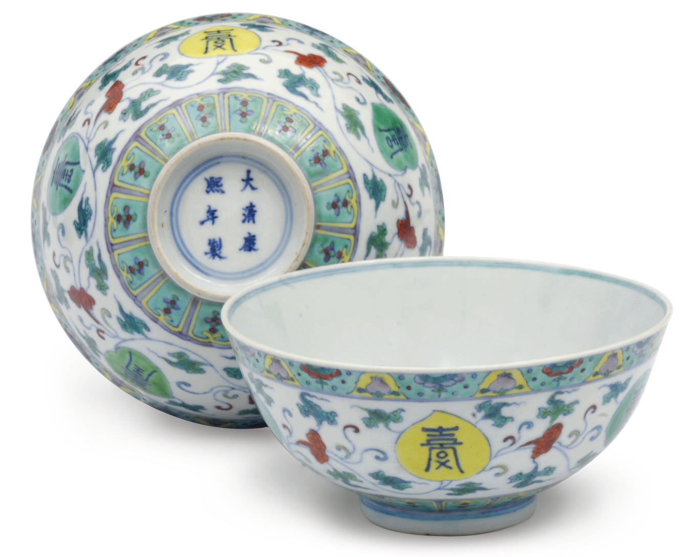 Four Doucai bowls
