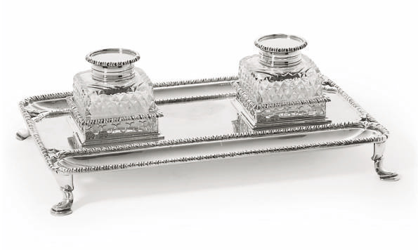 A SILVER INKSTAND OF GEORGE II