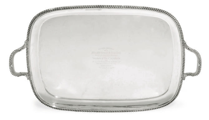 AN OBLONG SILVER TWO-HANDLED T