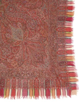 AN EMBROIDERED AND WOVEN SHAWL