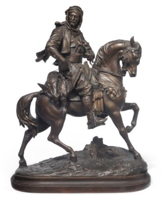 A FRENCH SPELTER EQUESTRIAN GR