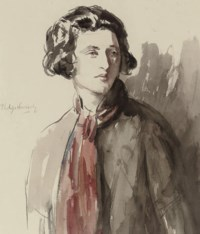 Portrait of a lady, half-length, wearing a red scarf