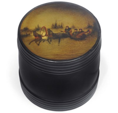 A RUSSIAN BLACK LACQUER AND PA