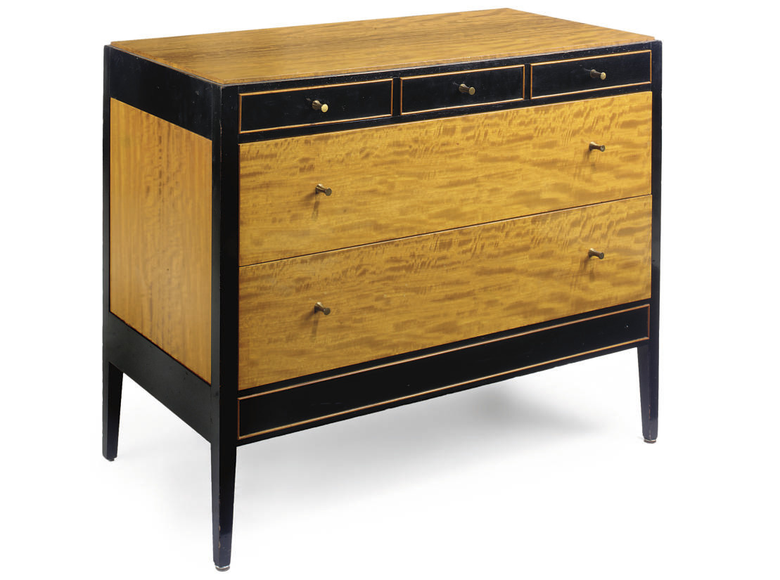 A SATINWOOD AND EBONISED CHEST