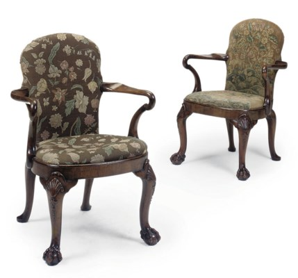 A PAIR OF WALNUT ARMCHAIRS