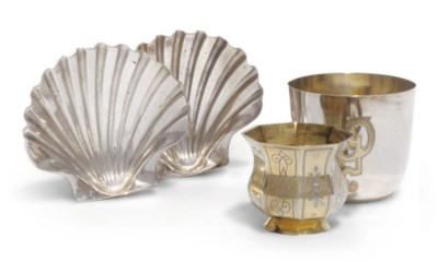 A PAIR OF CAST SILVER BUTTER S