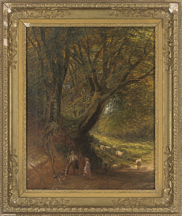 Figures conversing on a woodland path