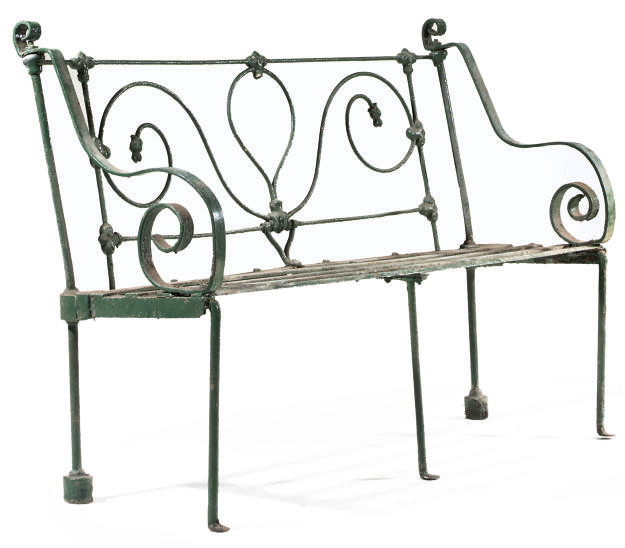A WROUGHT-IRON GARDEN BENCH