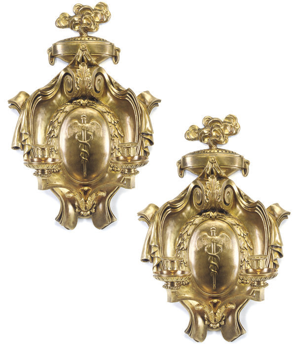 A PAIR OF FRENCH GILT-BRASS TW