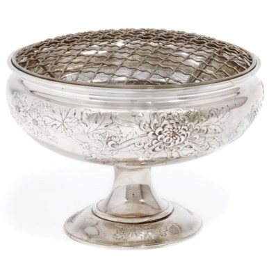 A Japanese Silver ikebana vase