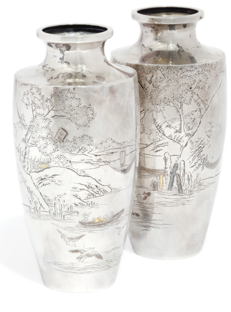 A Pair of Japanese Silvered va