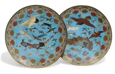 A Pair of Japanese cloisonne C