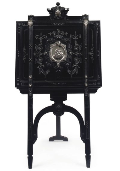 A GERMAN EBONISED AND SILVER-P