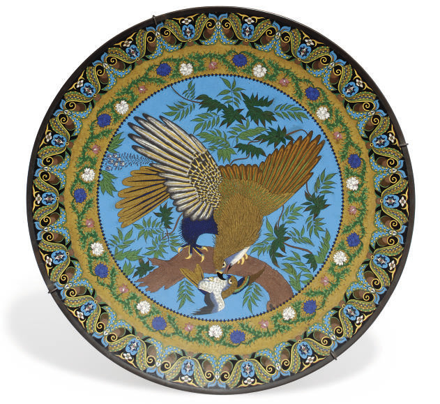 A Japanese cloisonne charger