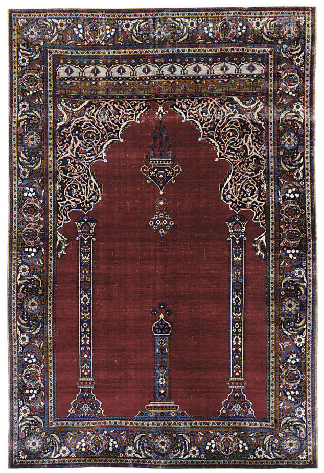 A very fine silk Tabriz prayer