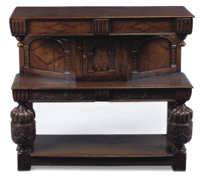 AN ENGLISH INLAID OAK BUFFET