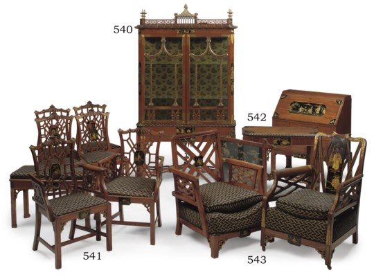 A SATINWOOD, JAPANNED AND PARC