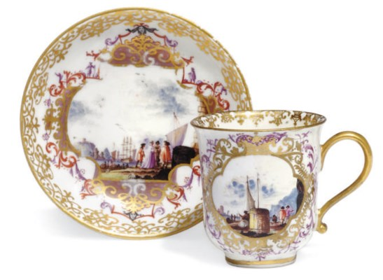 A MEISSEN COFFEE-CUP AND A SAU